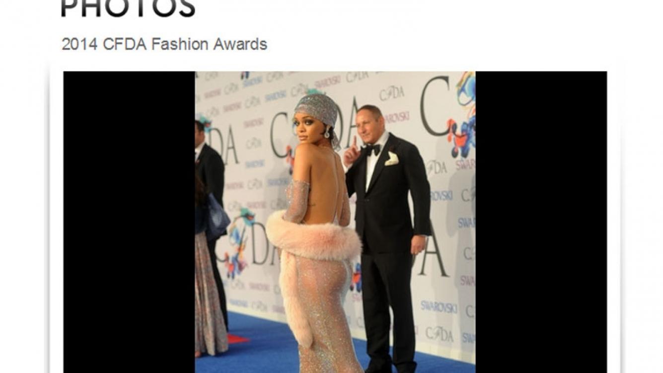 El osadísimo look de Rihanna en los premios a la moda CFDA. (Foto: http://photos.toofab.com)