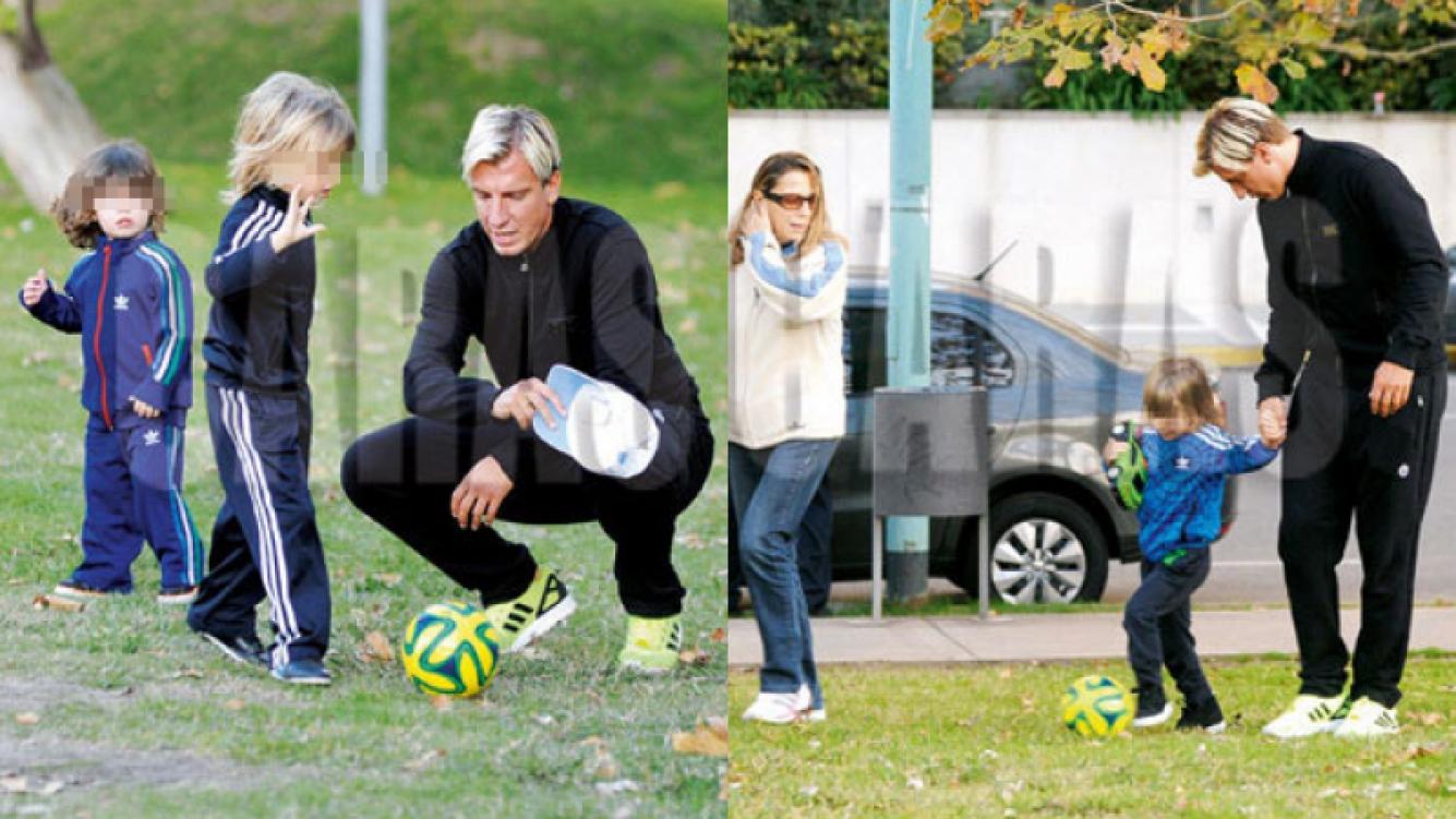 Maxi López disfrutó de una tarde de juegos con sus tres hijos (Fotos: Caras).