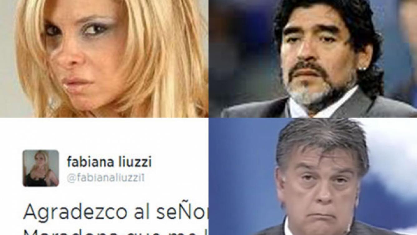 Fabiana Liuzzi le agradeció a Diego Maradona. (Fotos: Web y Twitter)