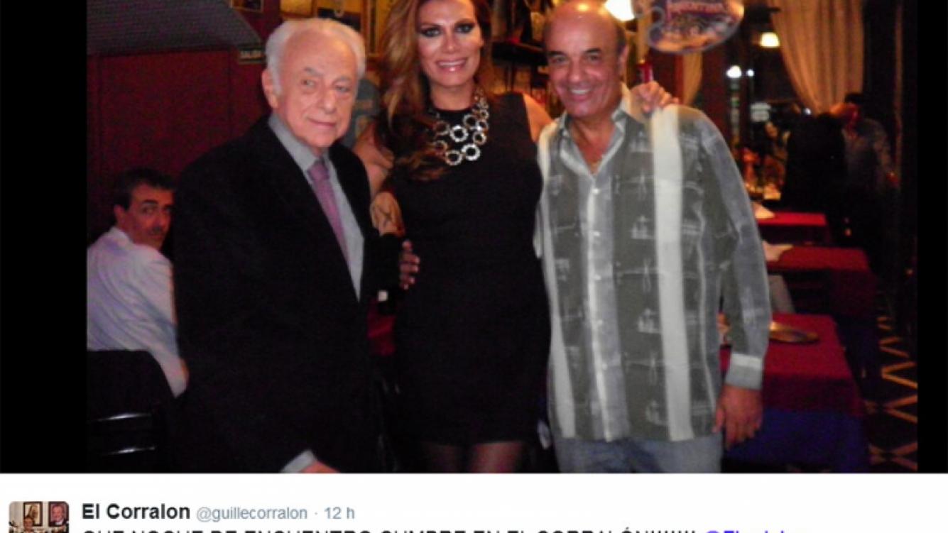 Reconciliación entre Gerardo Sofovich y Flor de la Ve (Foto: Twitter @guillecorralon)
