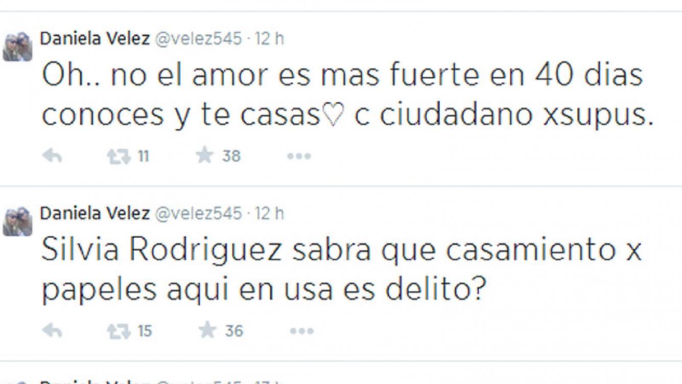 Fuertes tweets de Daniela Vélez contra Silvia Rodríguez (Foto: Twitter)