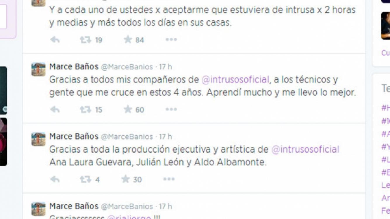Marcela Baños se despidió de Intrusos en Twitter (Foto: Captura).
