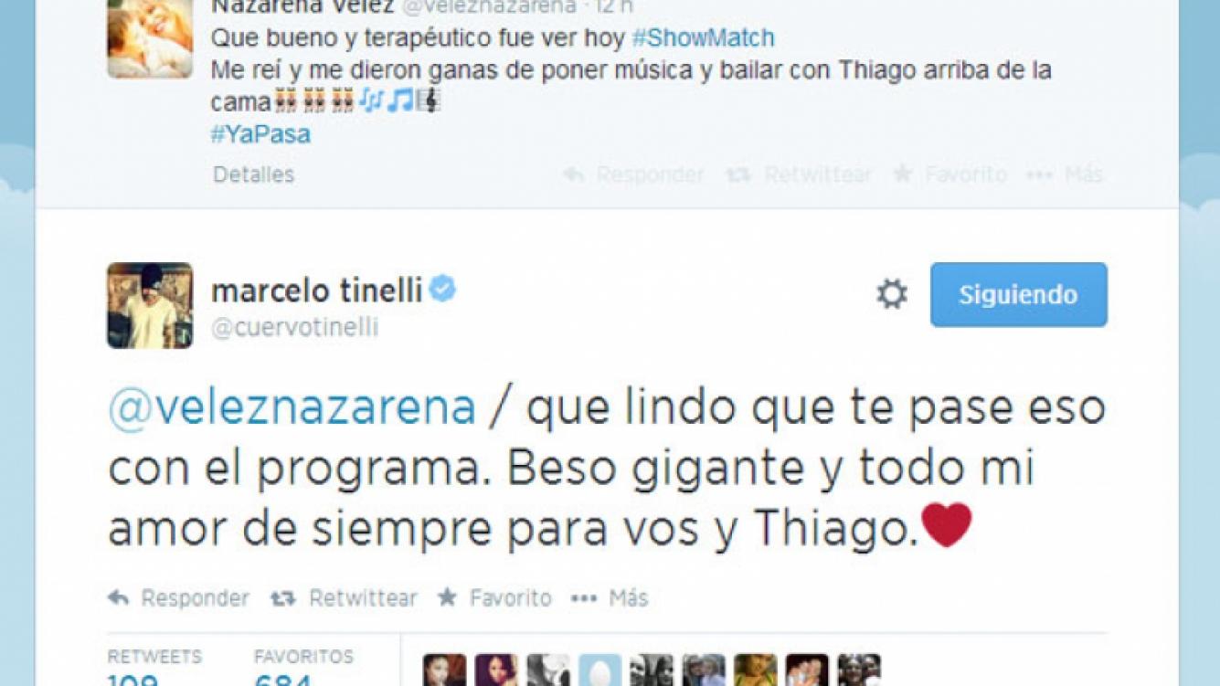 Marcelo Tinelli y un cálido mensaje para Nazarena Vélez (Fotos: Captura).