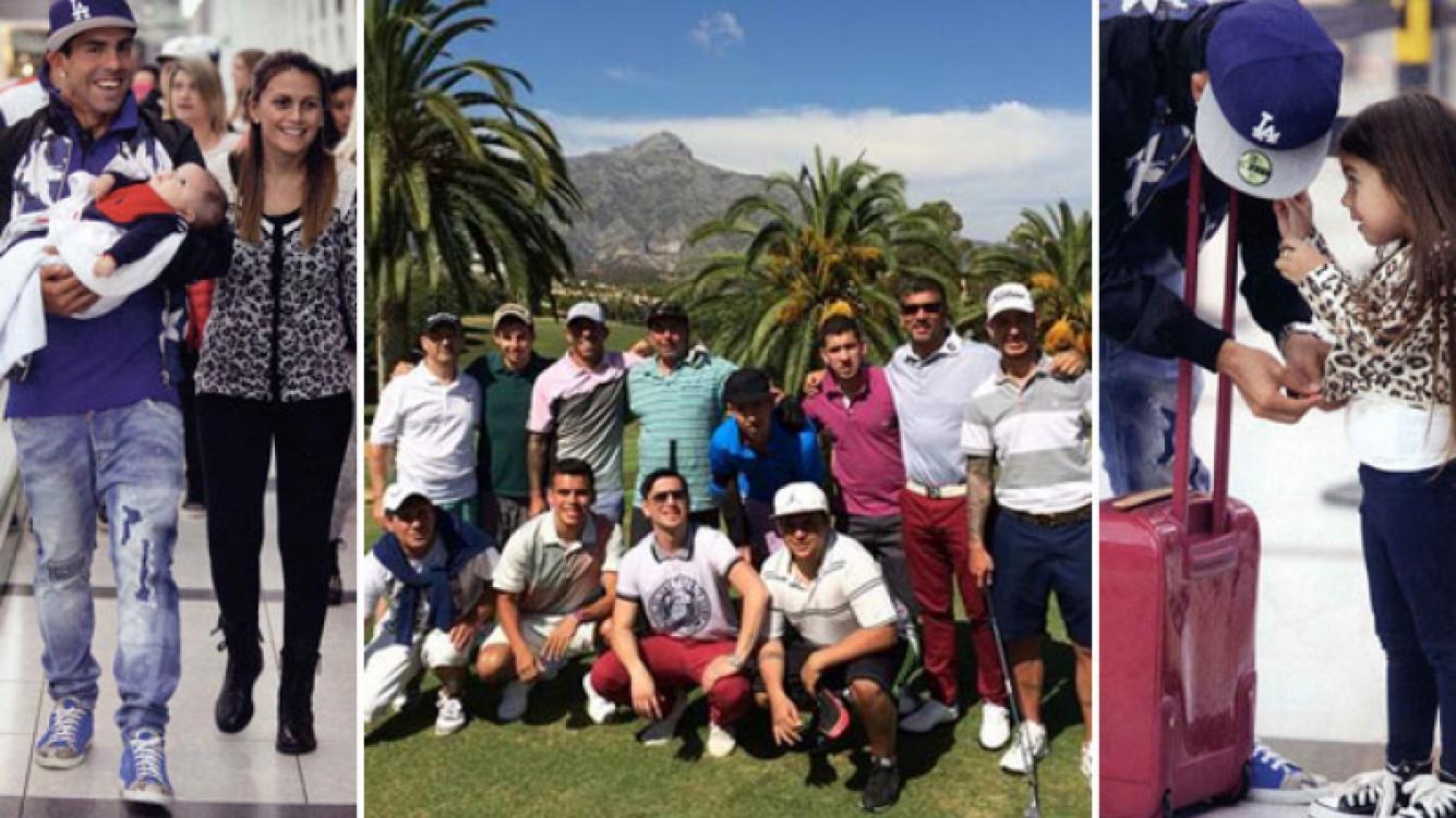 Carlitos Tevez, en Marbella y lejos del Mundial. (Foto: Twitter y revista ¡Hola! Argentina)