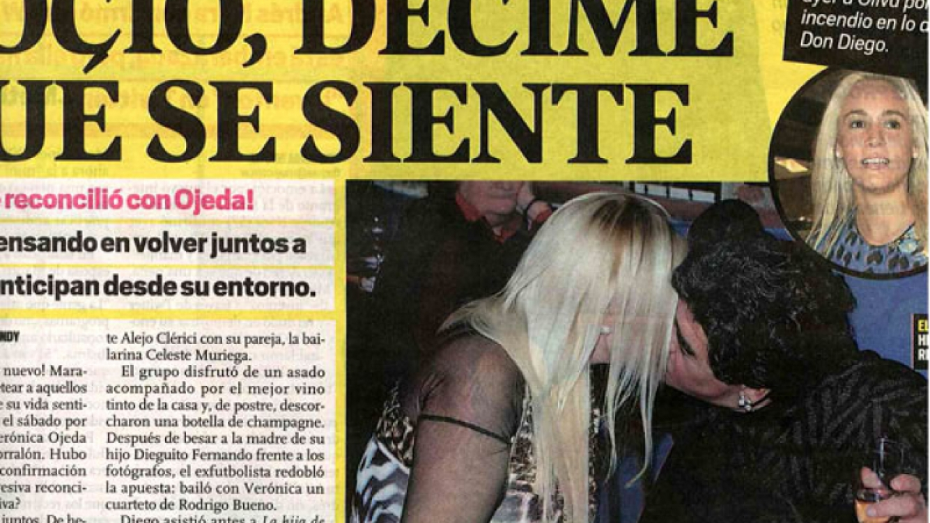 Diego Maradona y Verónica Ojeda, mimosos el último sábado (Foto: Diario MUY).