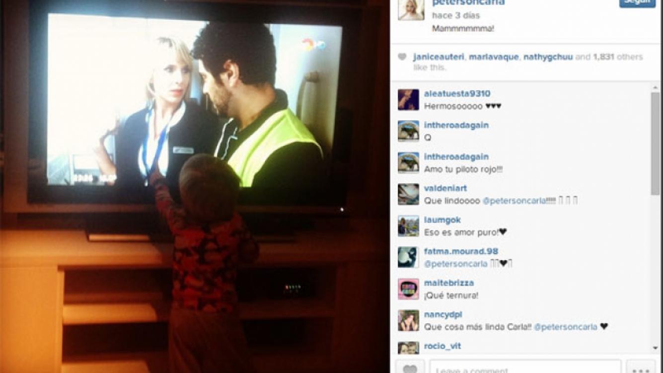 La reacción de Gaspar cuando ve a su mamá en televisión (Foto: Instagram).