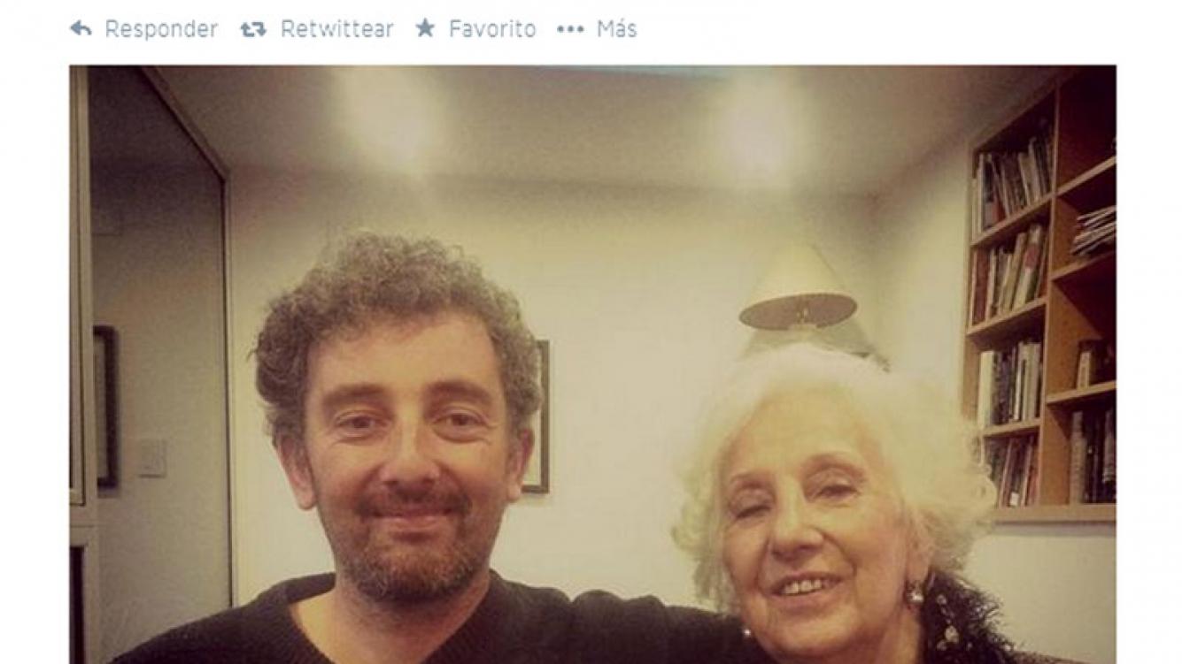 Estela de Carlotto con su nieto Ignacio Hurban (Foto: Twitter)