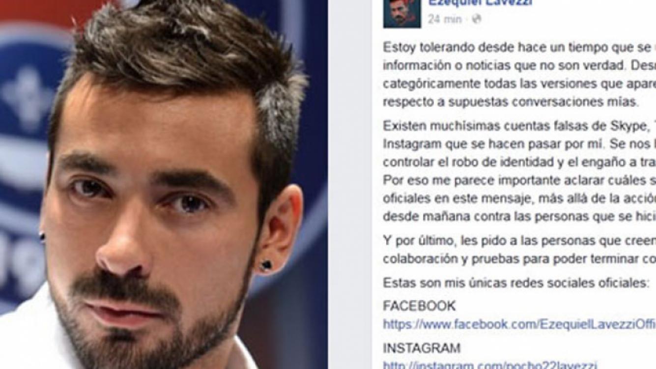 Pocho Lavezzi salió a desmentir rumores de conversaciones de chat. (Fotos: Web y Facebook)