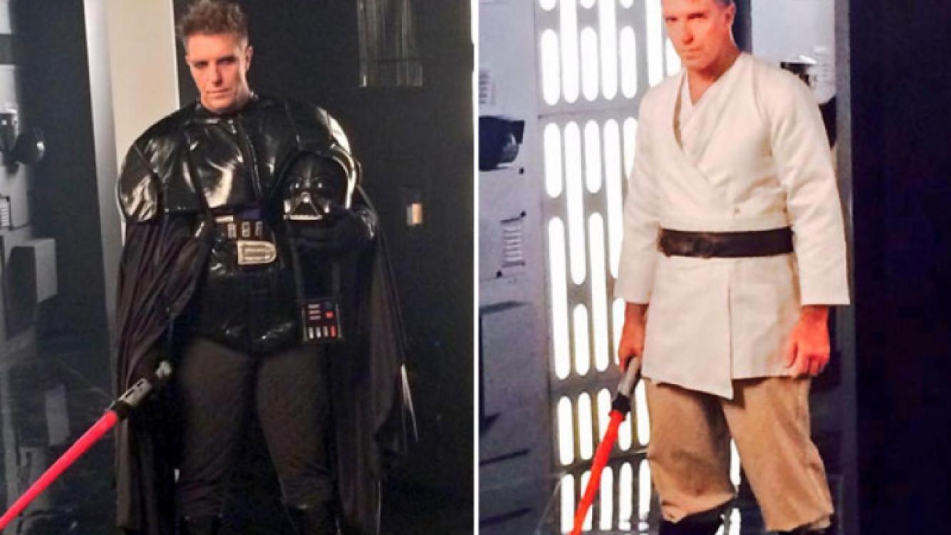 Alejandro Fantino jugó a ser un Jedi de La guerra de las galaxias. (Foto: Twitter)