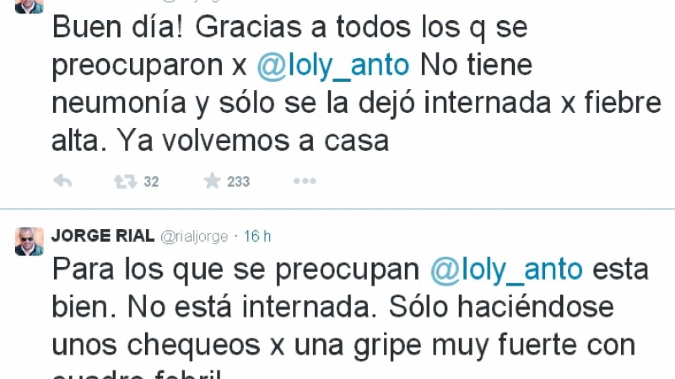 Loly Antoniale evoluciona bien luego de ser internada por fiebre alta: la palabra de Jorge Rial  (Foto: Twitter)