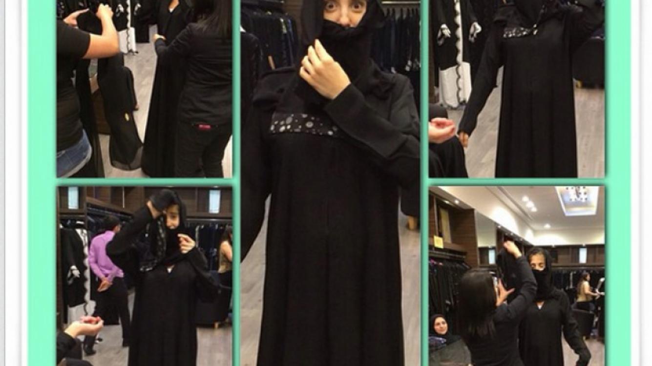 Cinthia Fernández se probó una burka en Dubai. (Foto: Instagram.com/cinthia_fernandez_)