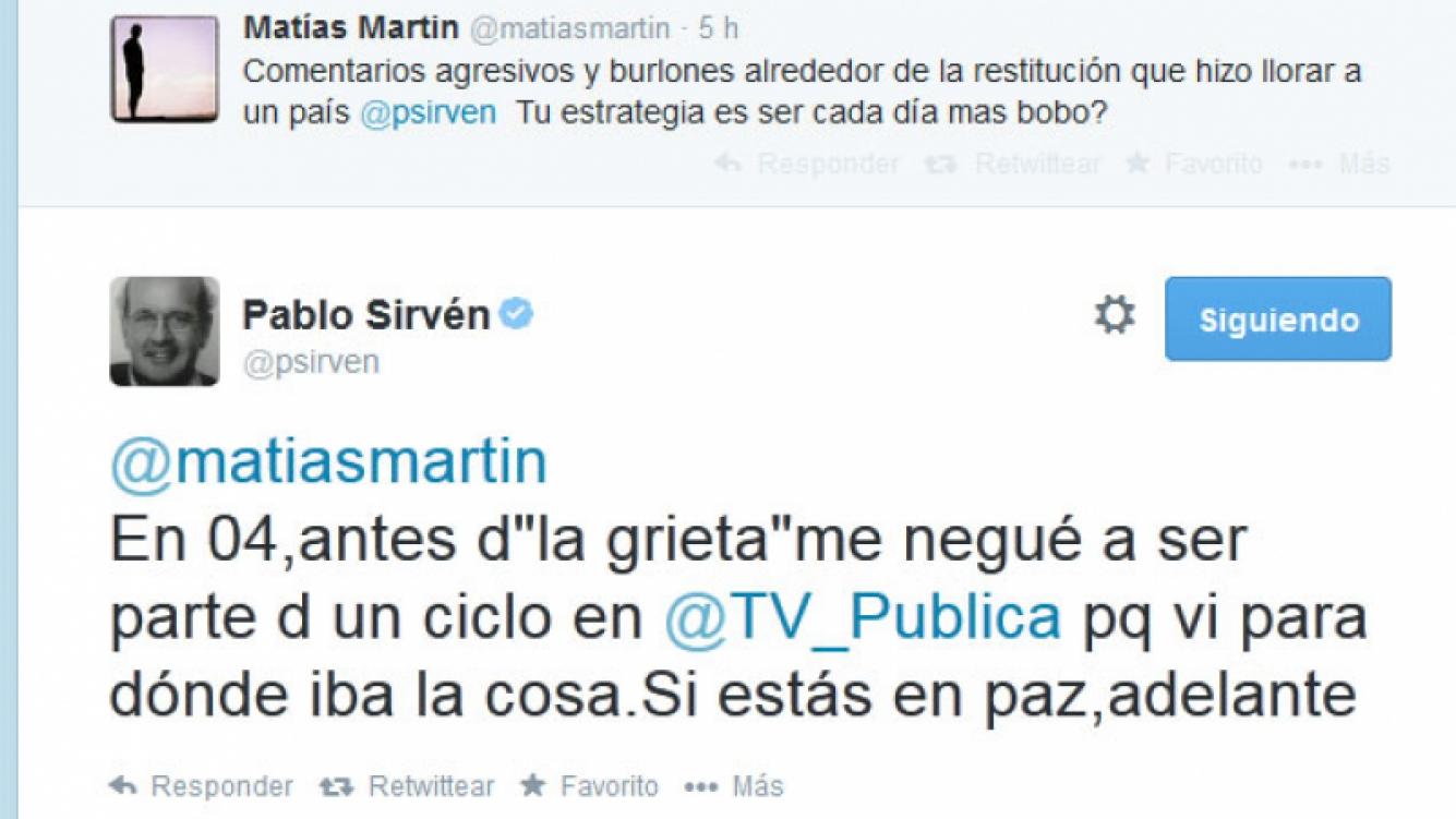El picante cruce tuitero de Matías Martin y Pablo Sirvén. (Foto: Twitter)