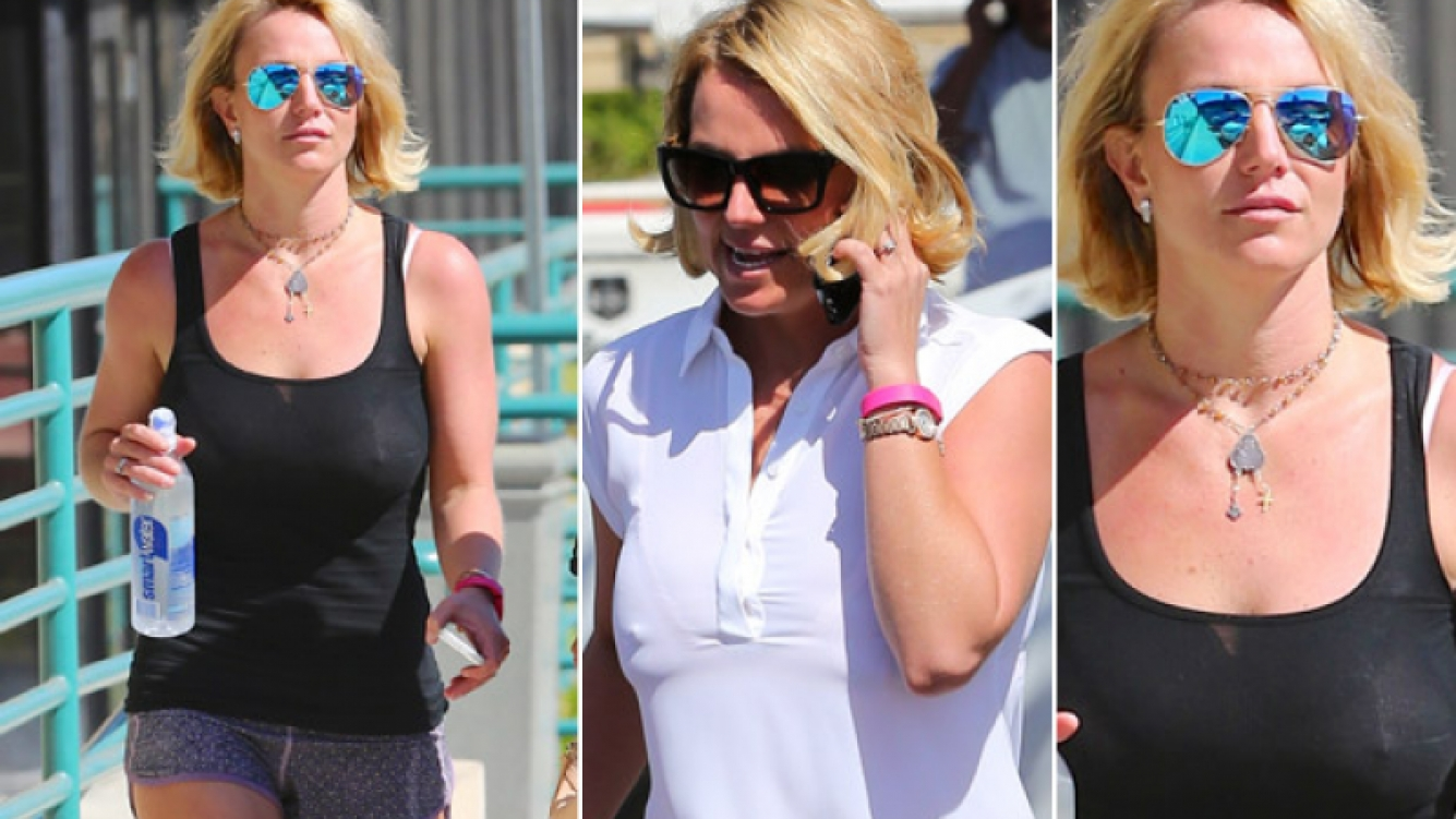 Britney Spears, look casual, con trasparencia peligrosa (Foto:  Grosby Group)