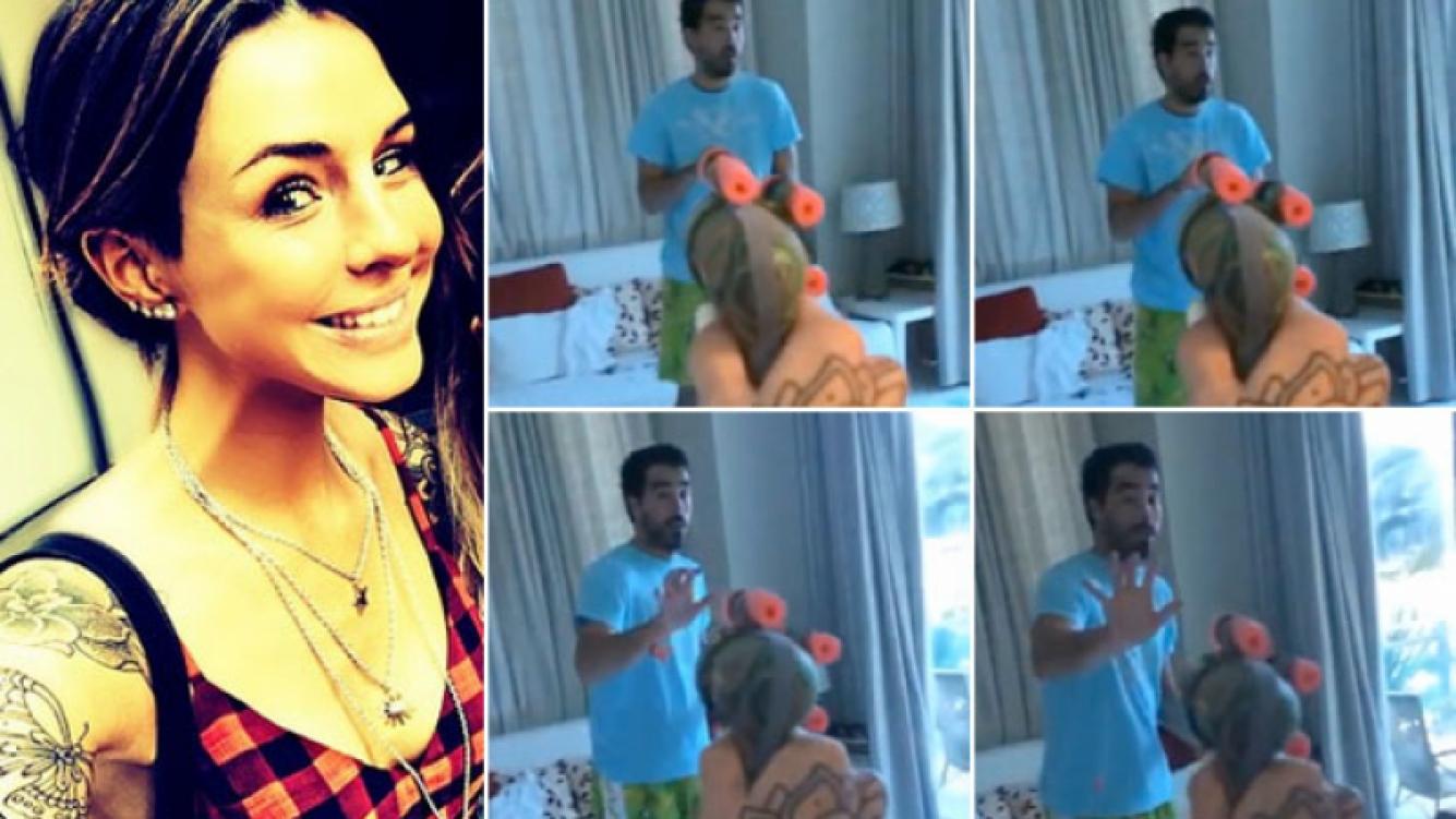 """Candelaria Tinelli y su """"ataque armado"""" a Nacho Viale. (Foto: capturas de video)"""