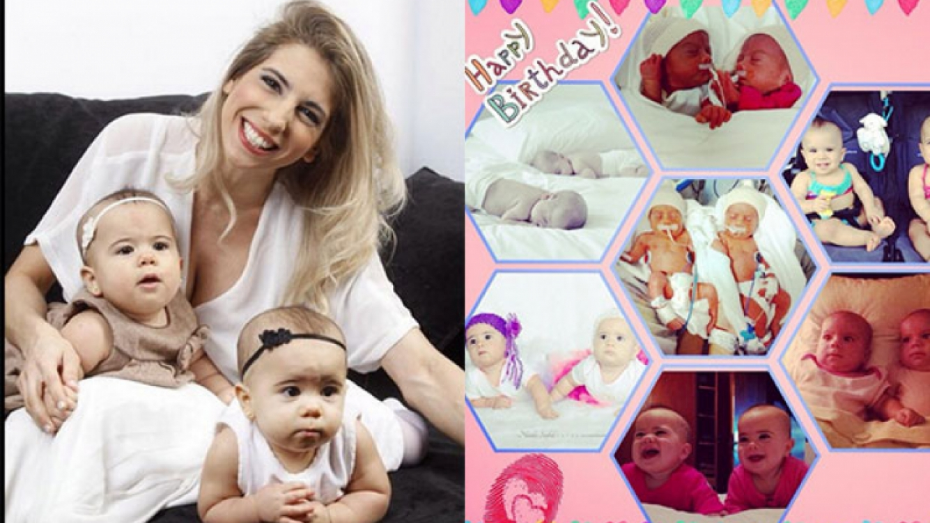 Cinthia Fernández celebró el primer añito de sus mellizas (Fotos: Twitter e Instagram).