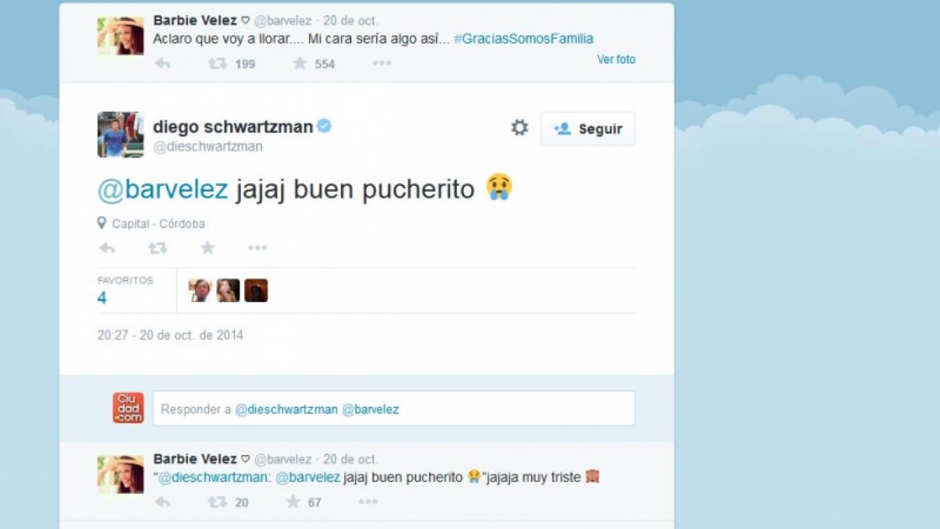 El mensaje que intercambiaron Barbie Vélez y Diego Schwartzman en Twitter.