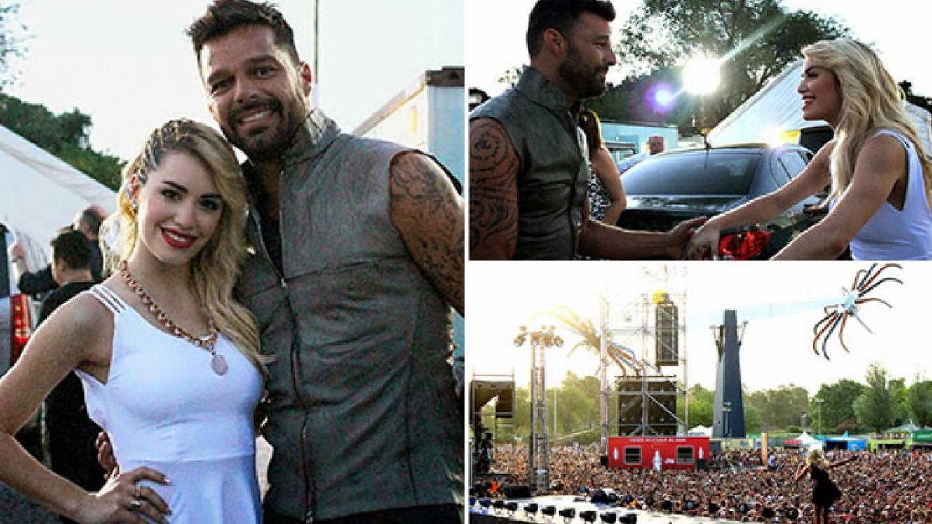 El cálido encuentro de Lali Espósito y Ricky Martin. (Foto: Vicky Roa prensa)