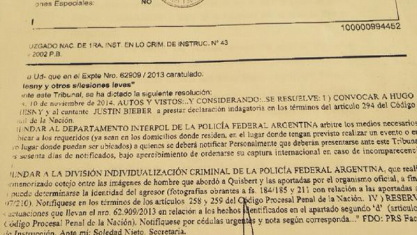 El pedido de indagatoria para Justin Bieber. (Twitter Matías Morla)
