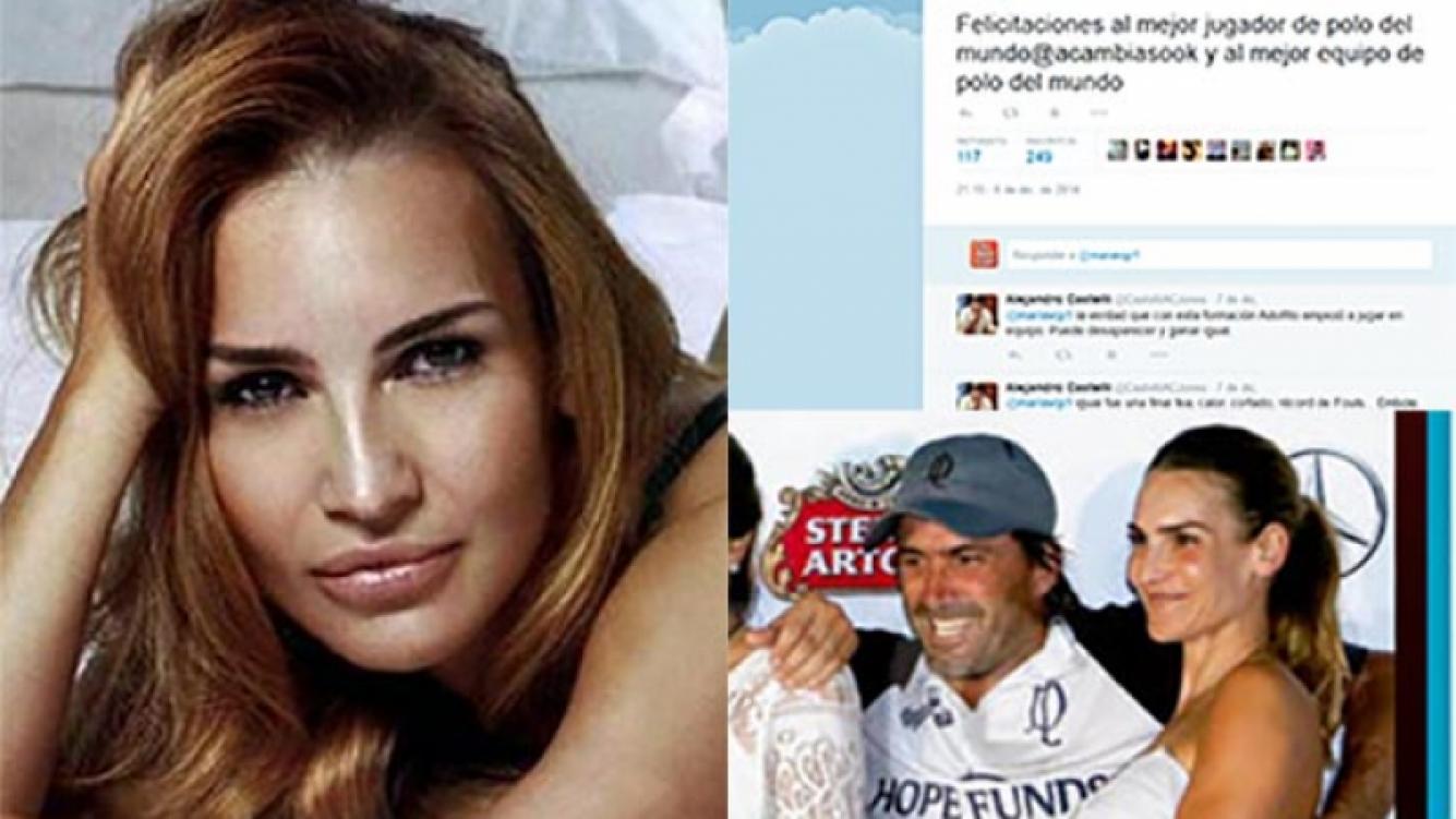 El cruce tuitero de María Vázquez con un usuario. (Fotos: Web, Caras y Twitter)