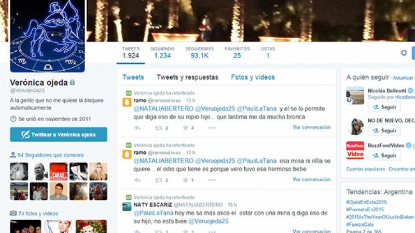 La reacción tuitera de Veronica Ojeda tras la supuesta polémica frase de Rocío Oliva. (Foto: captura de Twitter)