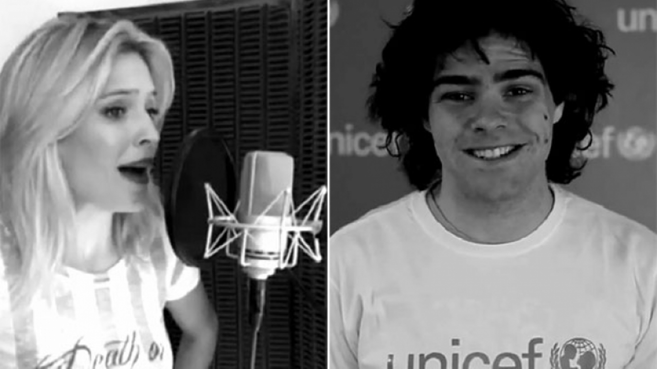 Luisana Lopilato y Peter Lanzani cantaron para celebrar el 25 aniversario de la Convención Internacional de los Derechos del Niño. (Foto: Unicef)