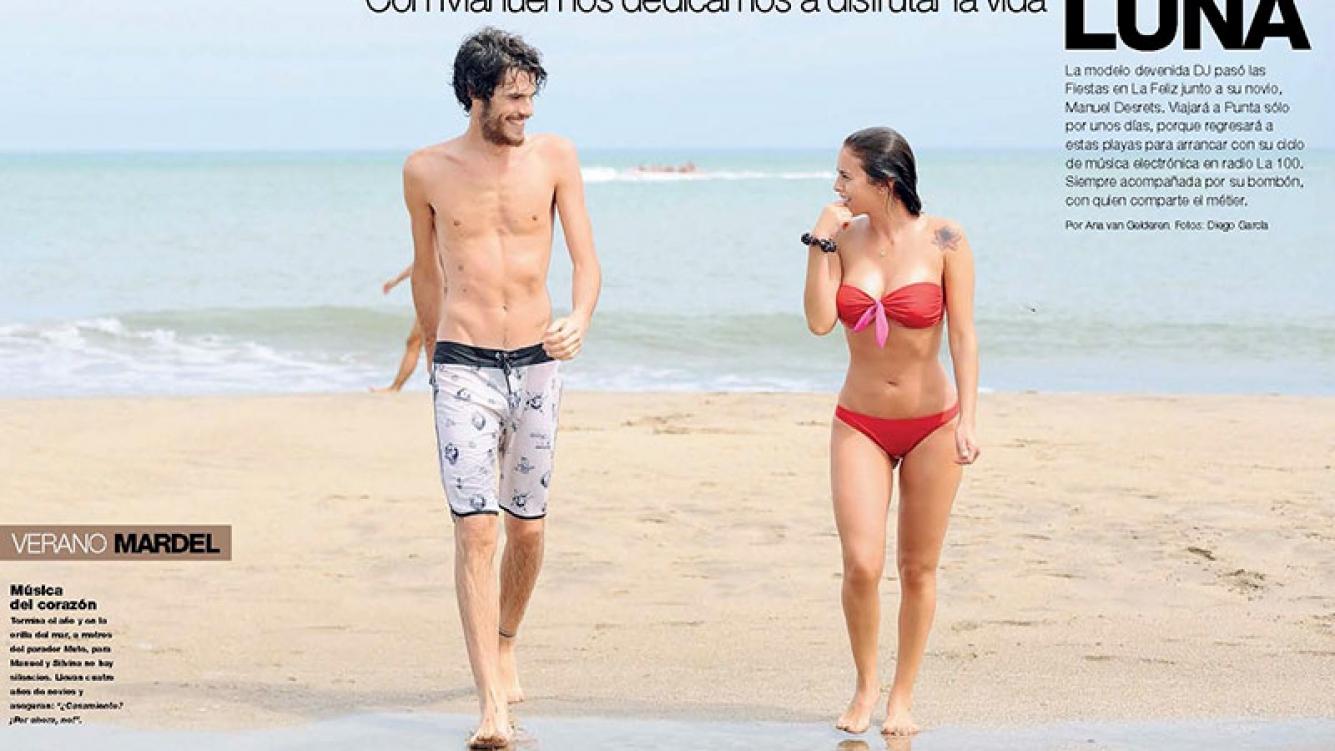 Silvina Luna y Manuel Desrets, sol y romance en Mar del Plata. (Foto: revista Gente)