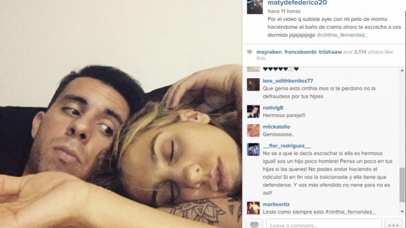 Cinthia Fernández y Matías Defederico, cada vez más cerca: ella duerme plácidamente en su hombro  (Foto: Instagram)