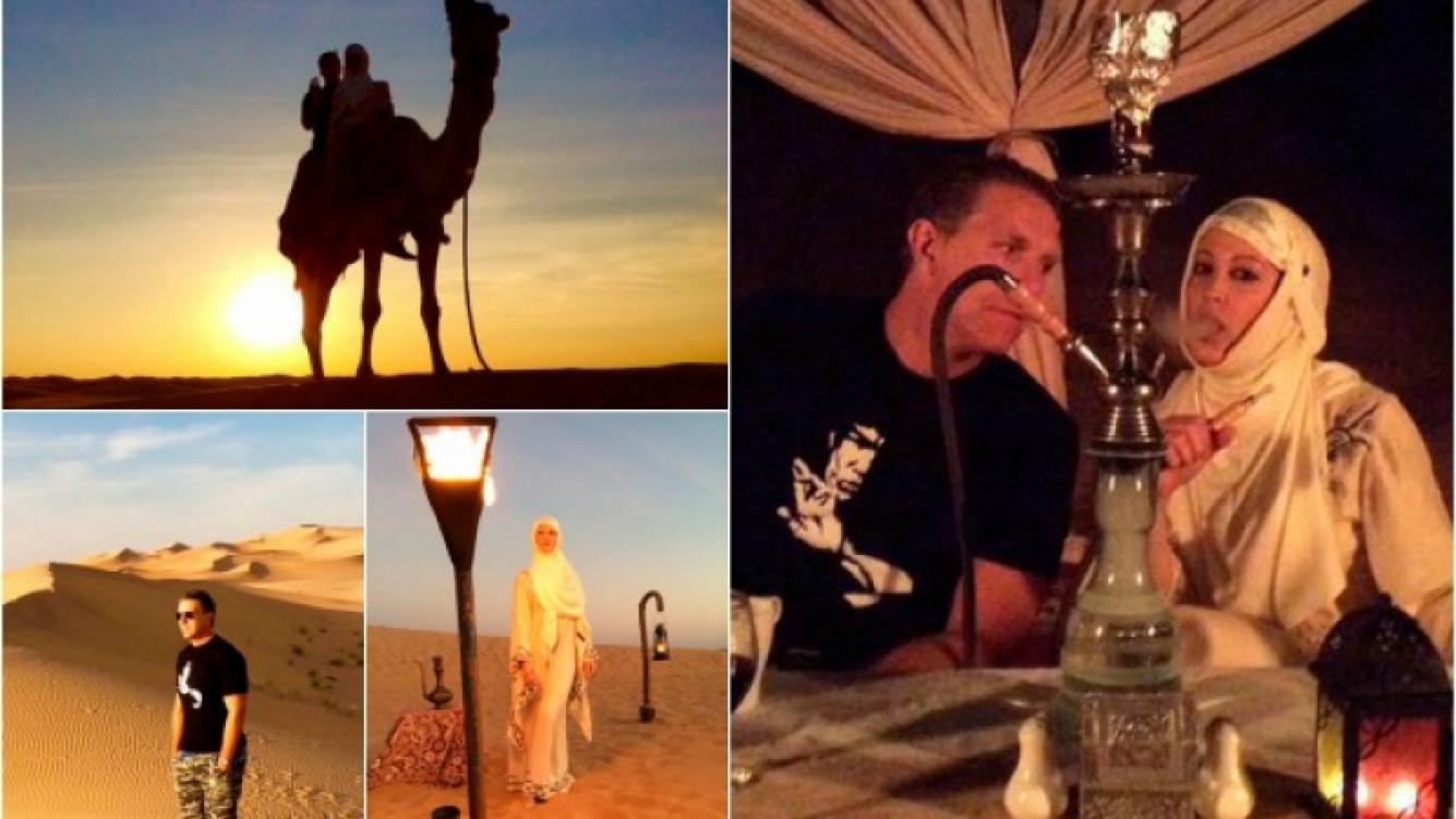 Fantino y Lanzoni disfrutaron de una cena a la luz de las velas en un desierto de Dubai. (Foto: Twitter)
