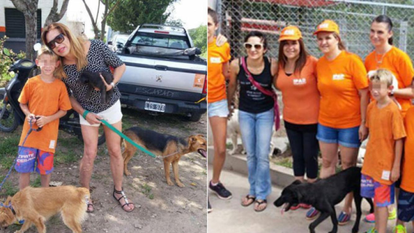 Lizy Tagliani y Anita Martínez, visitaron caniles en Villa Calos Paz (Foto: Prensa Valentina González)