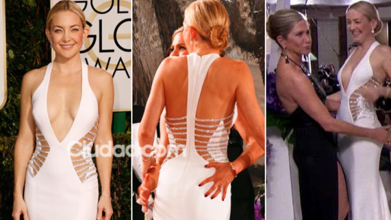 El escote súper sexy de Kate Hudson y la perlita hot con Jennifer Aniston. (Foto: Grosby Group y captura de TV)