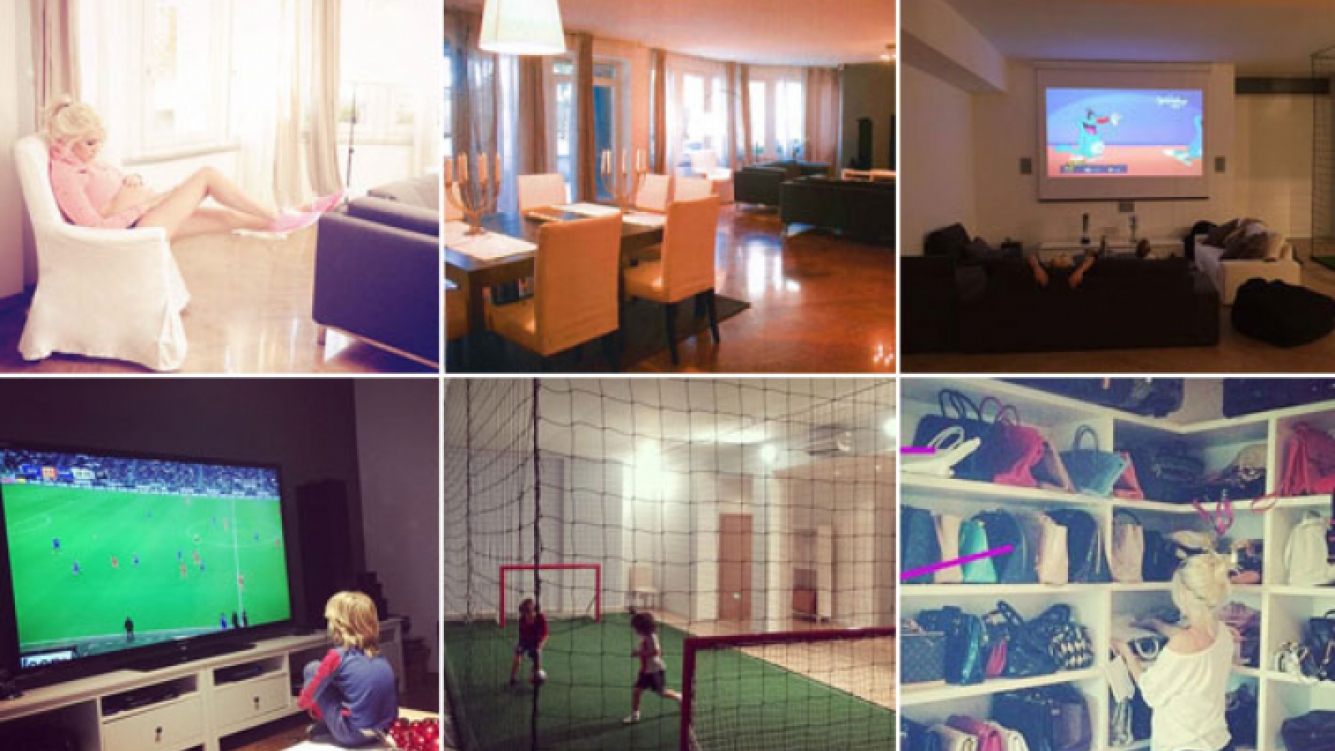 Wanda Nara y las fotos de su increíble residencia en el barrio San Siro, de Milán. (Foto: revista Caras, Twitter e Instagram)