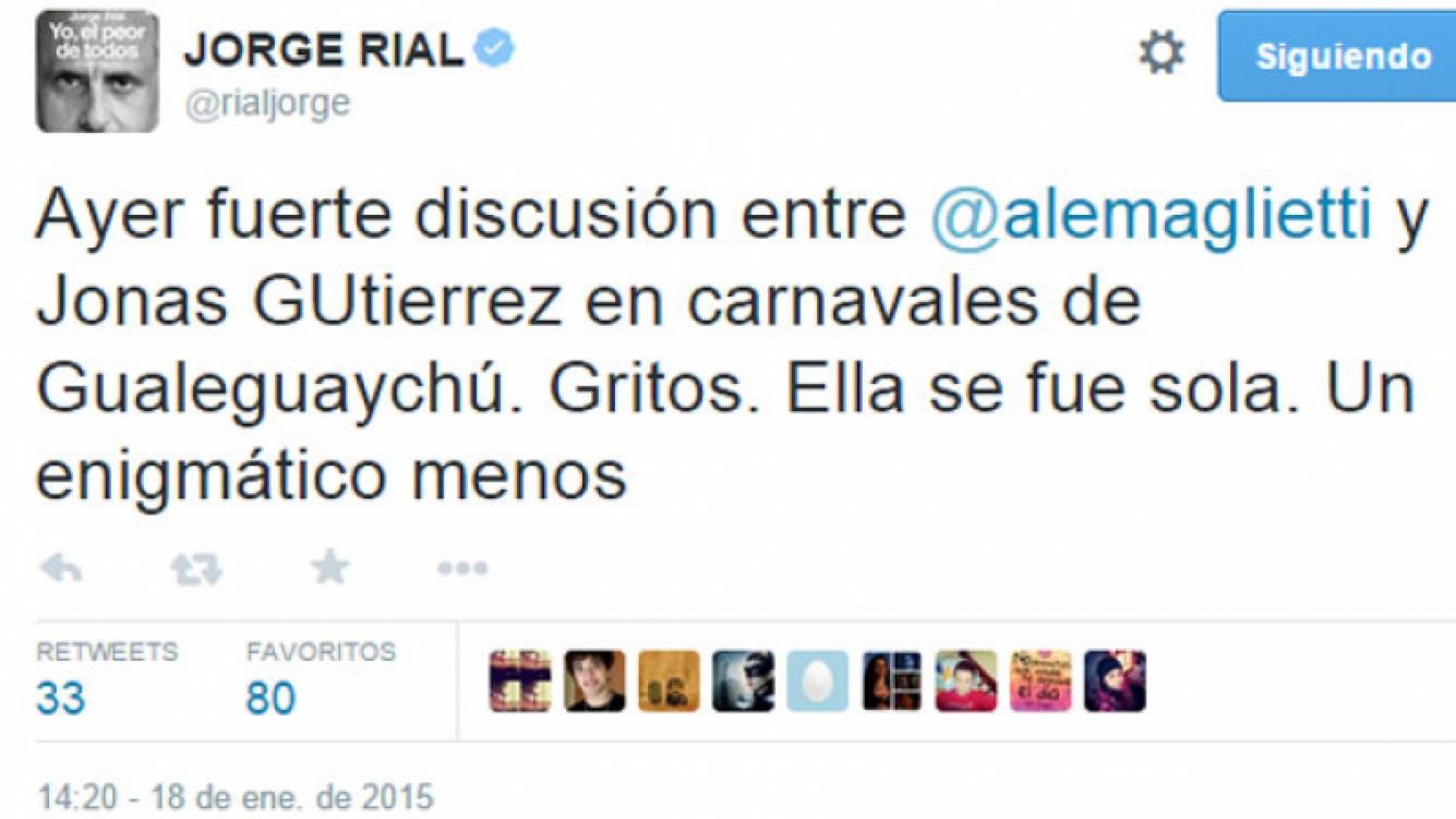 El sorpresivo tweet de Jorge Rial sobre la pareja (Foto: Captura).
