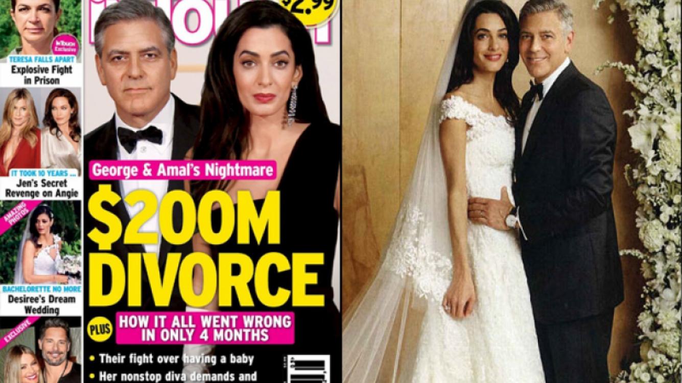 Rumores de divorcio para George Clooney y Amal Alamuddin. (Foto: web)