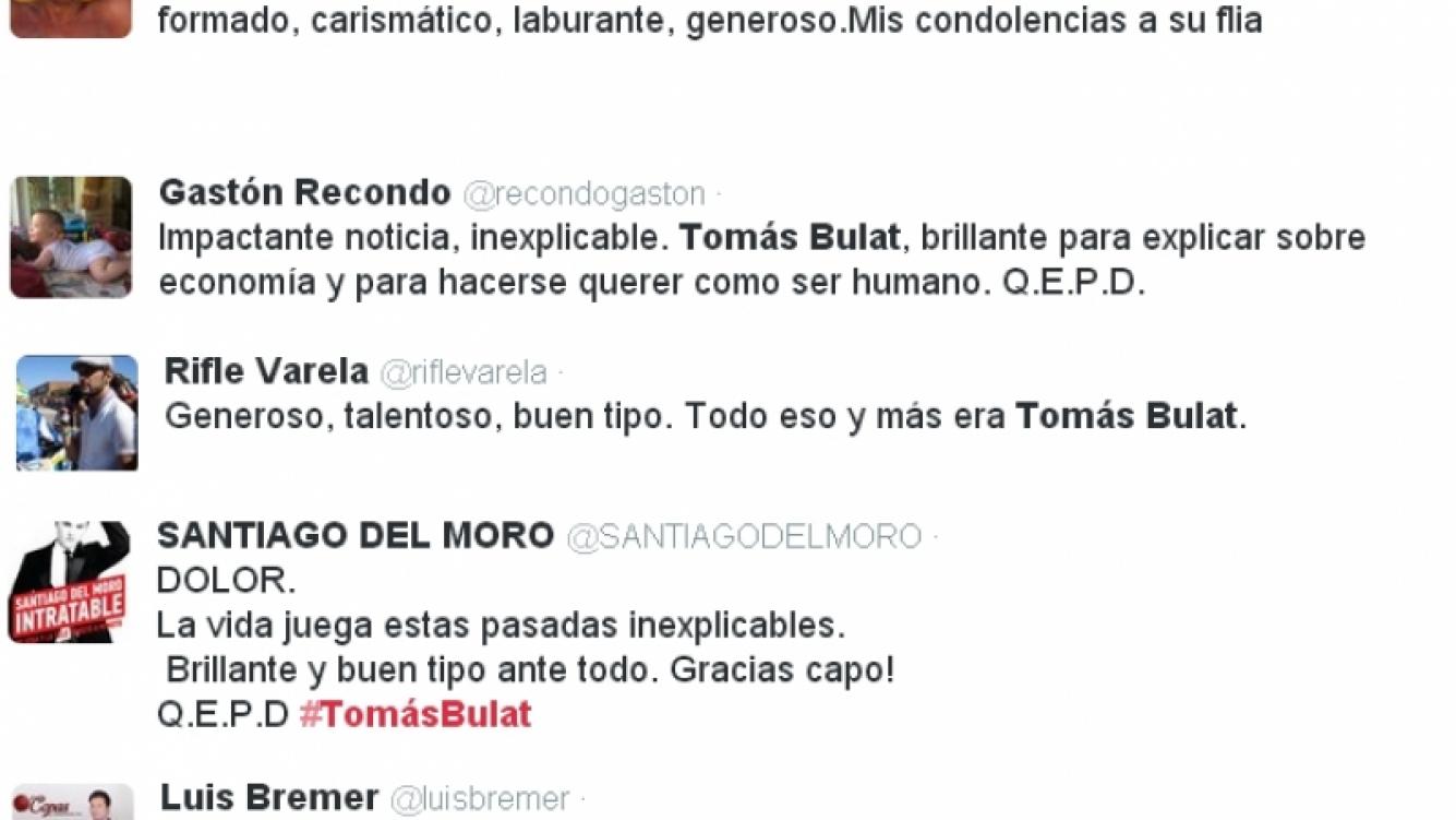 Los famosos expresaron su dolor en Twitter tras la muerte de Tomás Bulat (Foto: Twitter)