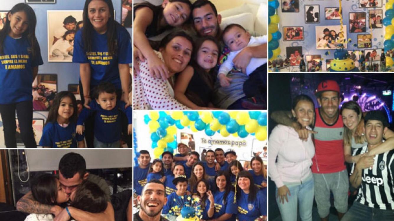 Carlos Tevez y su festejo de cumpleaños xeneize junto a familia. (Foto: Twitter)