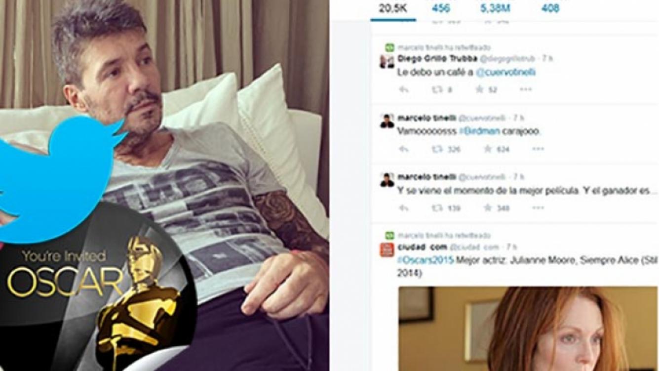 Marcelo Tinelli tuiteó durante la ceremonia de los premios Oscar. (Fotos: Instagram y Twitter)