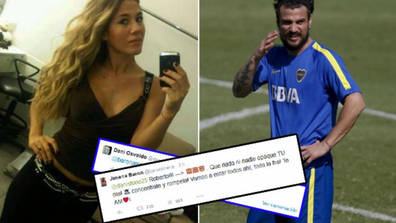 Jimena Barón salió a bancar a Daniel Osvaldo. (Fotos: Web y Twitter)