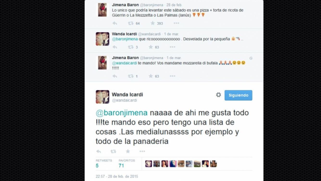 Jimena Barón y Wanda Nara tuvieron un divertido intercambio gastronómico en Twitter.
