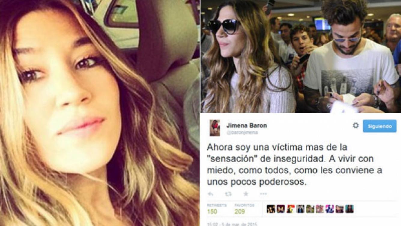 El descargo de Jimena Barón en Twitter, tras el violento robo. (Fotos: archivo Web y @baronjimena)