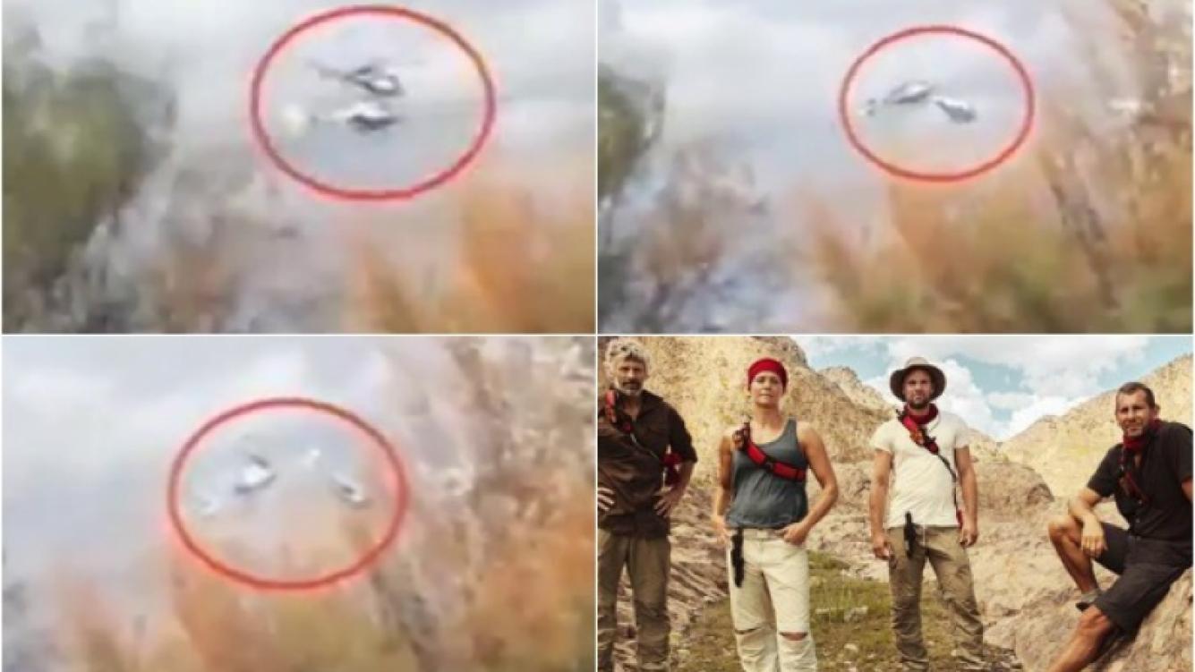 El video casero que registró la colisión de los dos helicópteros, que eran parte del reality show Dropped. (Foto: Web)