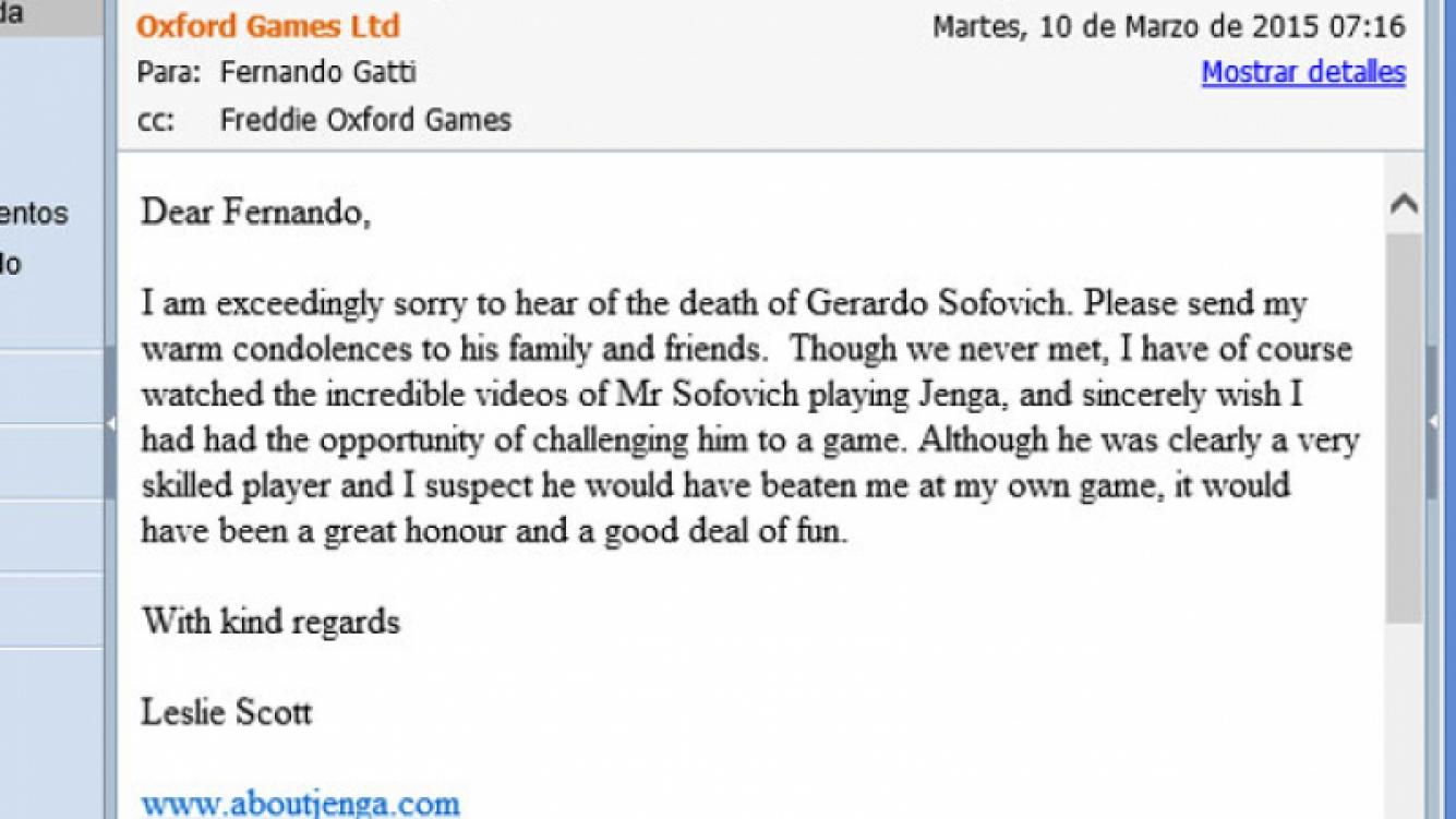 El correo electrónico de Leslie Scott en el que conmemora a Gerardo Sofovich. (Foto: captura de pantalla)