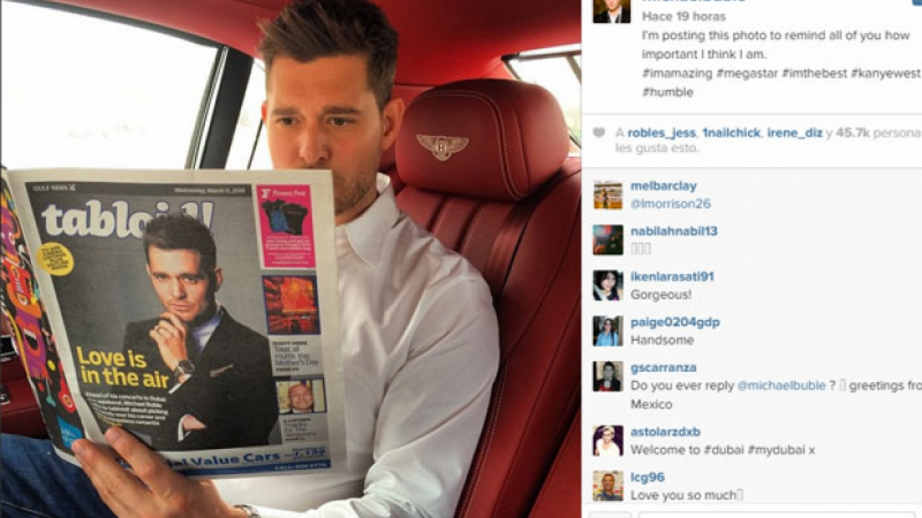Michael Bublé y una divertida postal desde Dubai (Fotos: Instagram).
