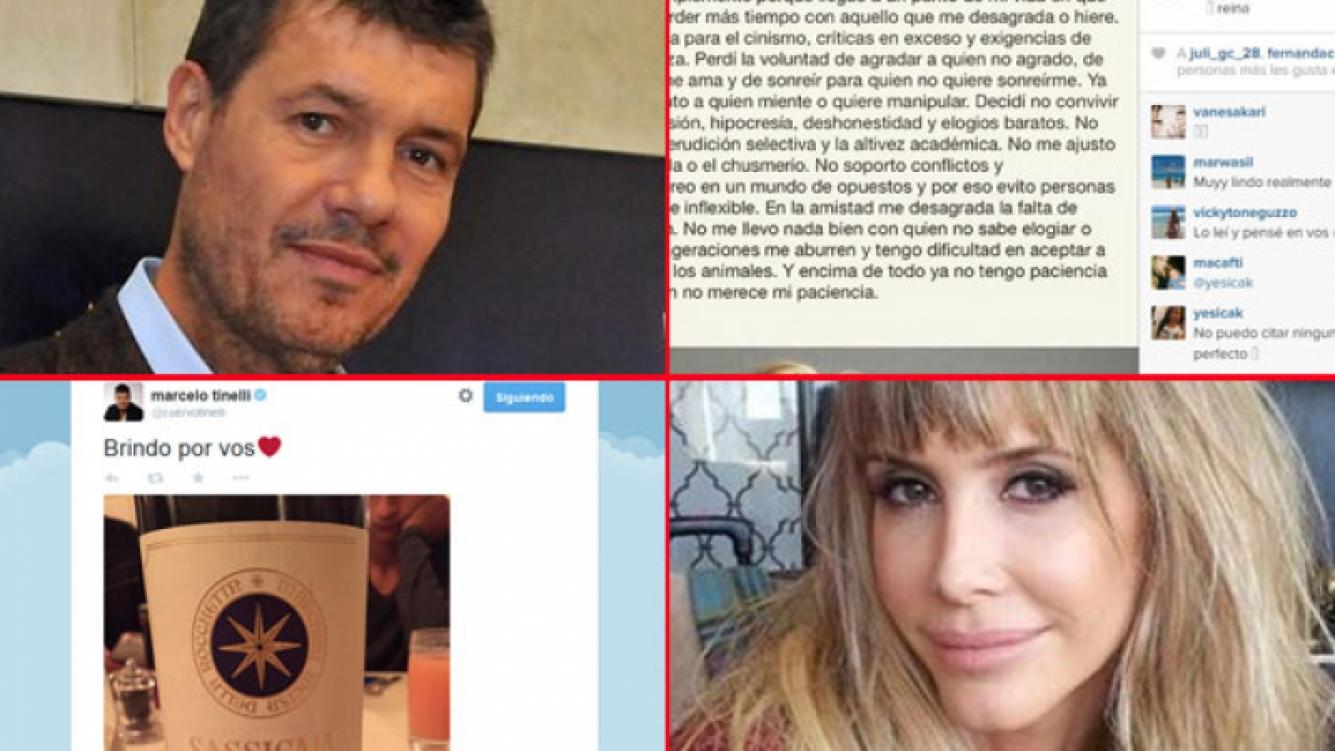 Guillermina Valdés y Marcelo Tienlli, misteriosos en las redes sociales. (Fotos: Twitter, Instagram y Web))