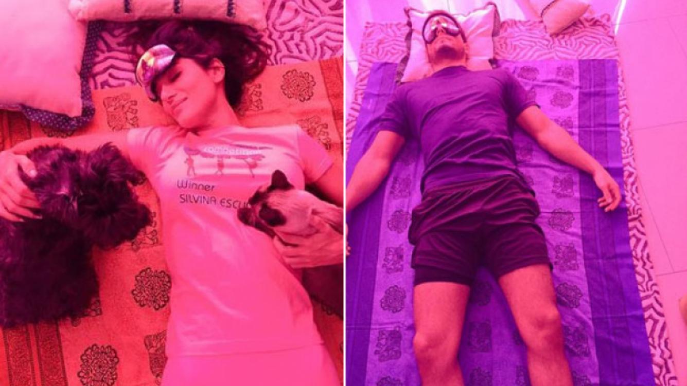 Silvina Escudero y Lucas Velasco se relajan con un masaje tailandés (Foto: Twitter)