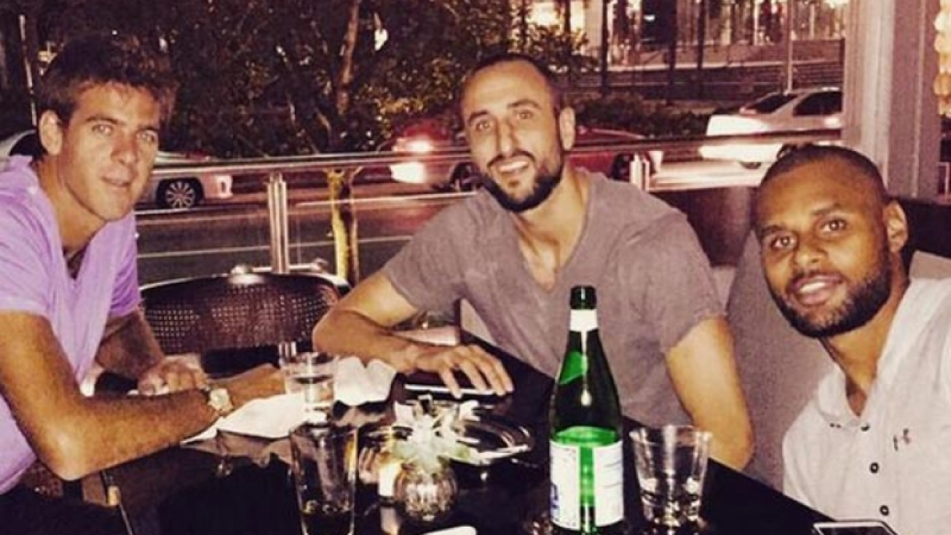 Delpo y Manu Ginóbili se juntaron a cenar en Estados Unidos. (Foto: Twitter)