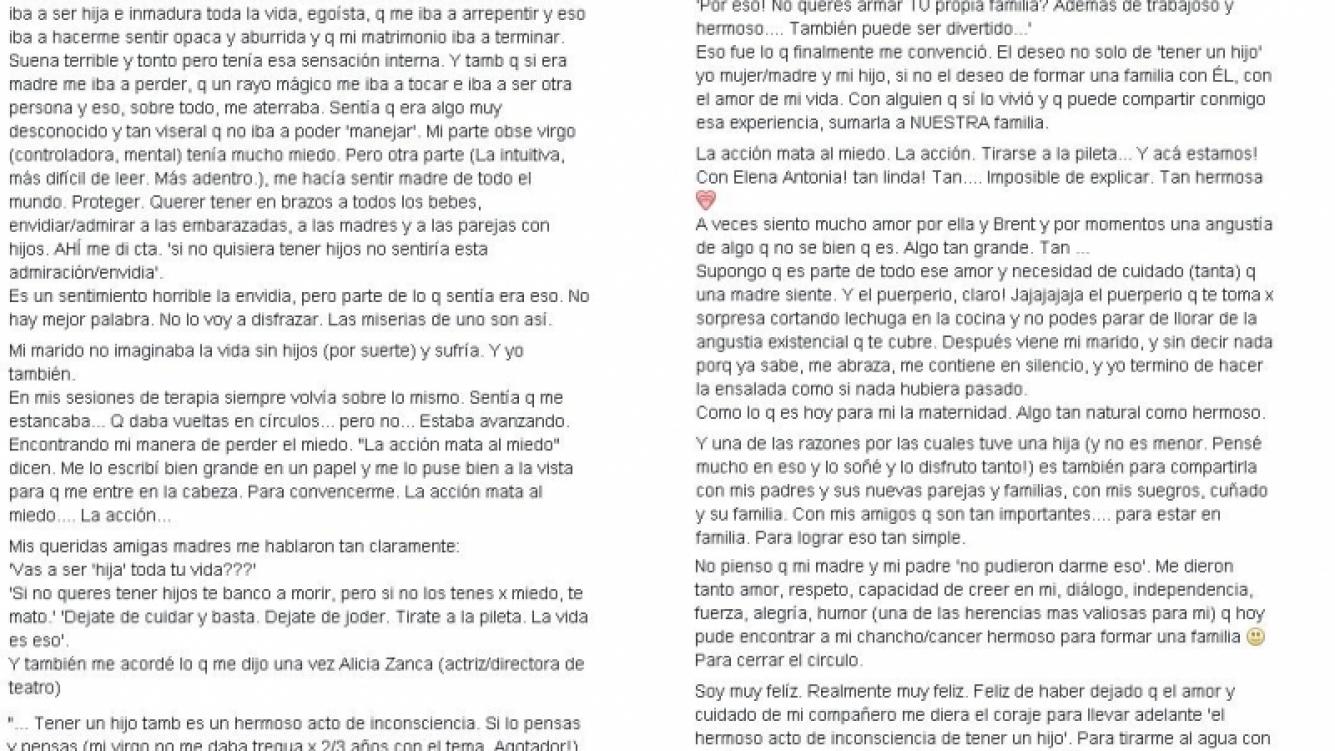 Julieta Díaz reflexionó sobre la maternidad (Foto: Facebook)