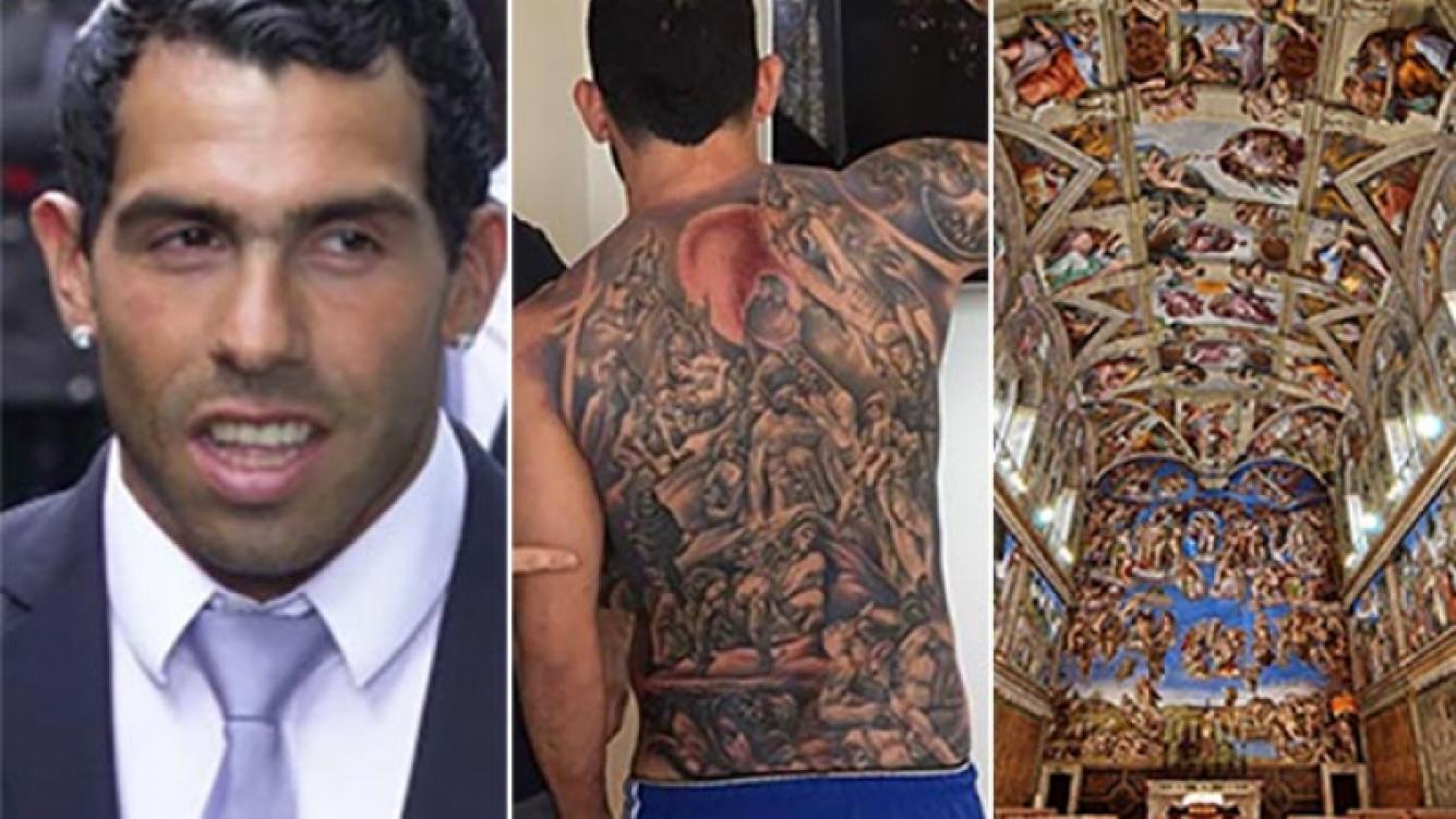 Carlos Tevez se tatuó un fresco de la Capilla Sixtina en su espalda. (Fotos: Web y Twitter)