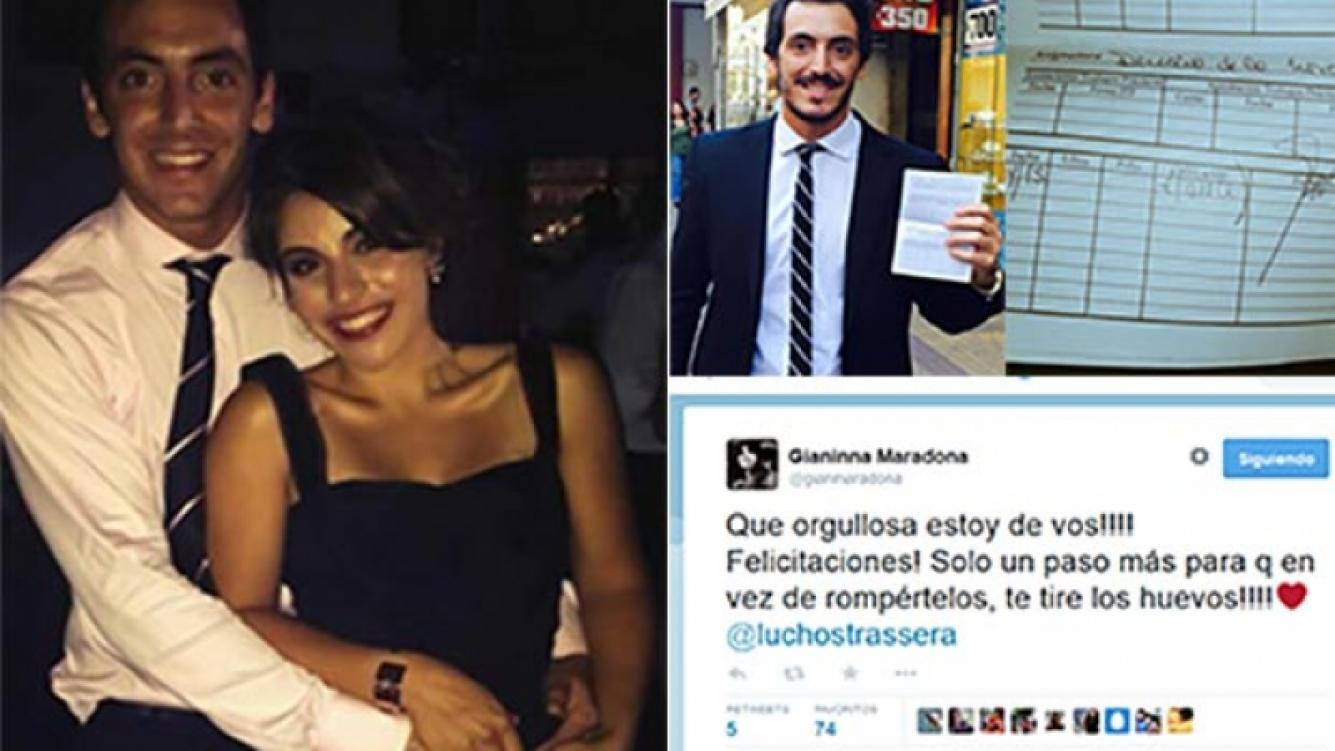 Gianinna Mararadona y Lucho Strassera, viento en popa. (Fotos: Twitter)