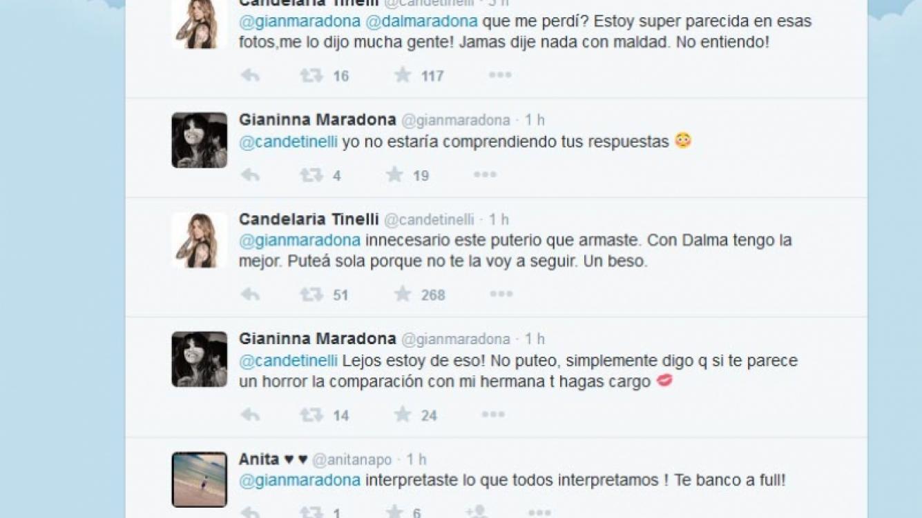 Candelaria Tinelli se cruzó con Dalma y Gianinna Maradona en Twitter.