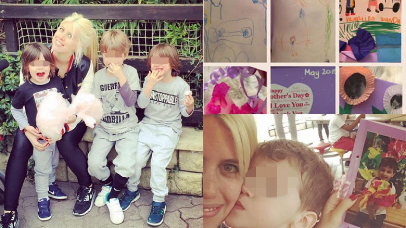 Wanda Nara, feliz con los obsequios de sus tres hijos mayores (Fotos: Twitter e Instagram).